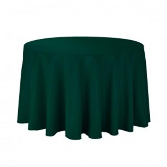 "Hunter Green 108"" Round Linens Tablecloth"