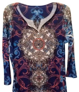 Style & Co Top Navy Blue With Multi- Colored Print