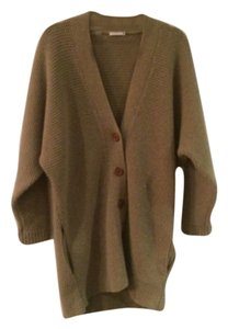 Chloé Oversized Textured Cashmere Wooden Buttons Dolman Sleeve Chunky Knit Sweater