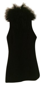 Versus Versace Fur Mohair Collar Zipper Sleeveless Tunic