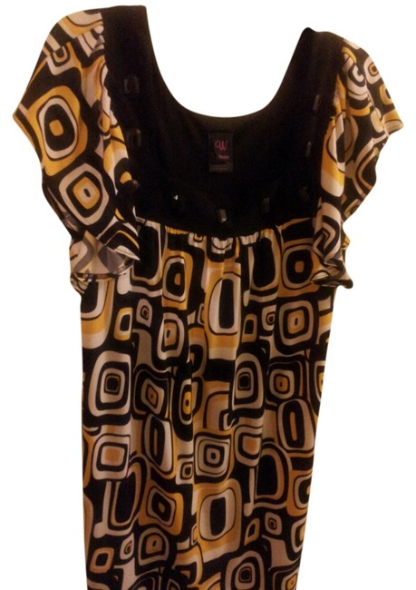 Item - Yellow Black and White Knee Length Formal Dress Size 16 (XL, Plus 0x)