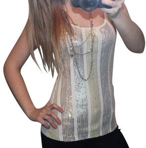 Express Ivory Gold Sequin Bling Tank Top Silver
