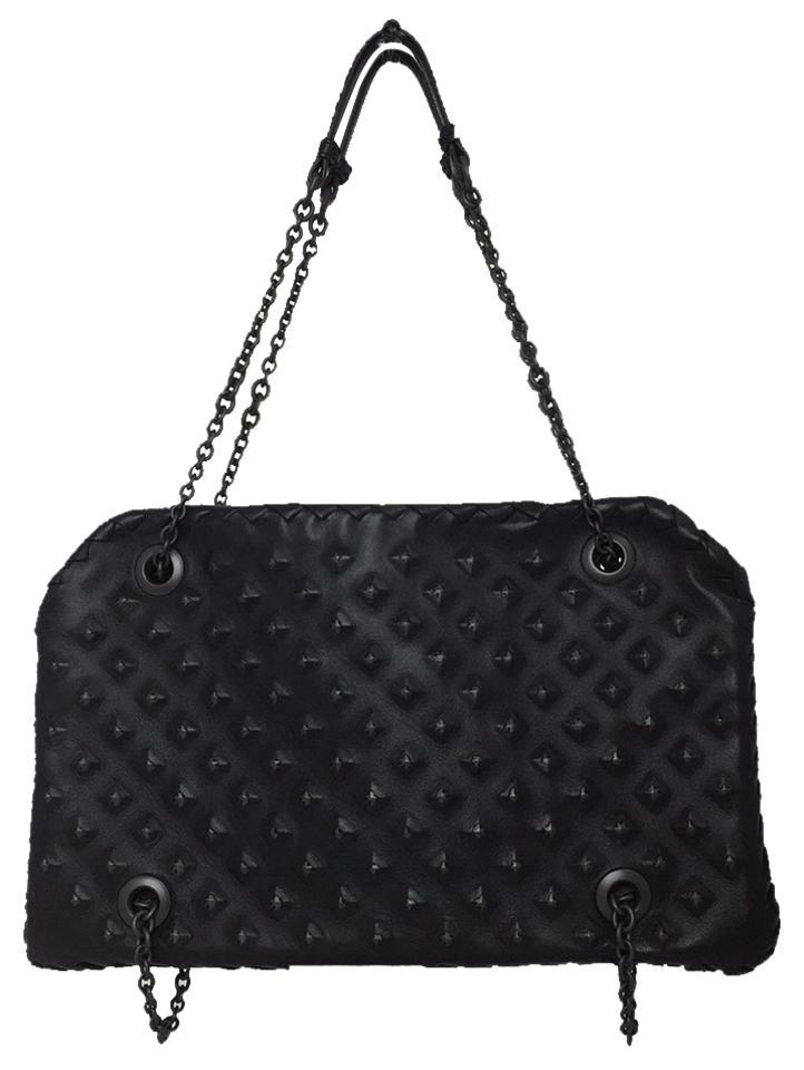 17c84b6c6b Bottega Veneta Studded Intrecciato Duo Black Leather Satchel - Tradesy