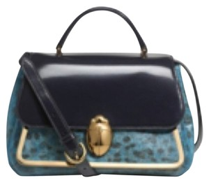 Tory Burch Leather New Crossbody One Shoulder Tote Satchel in Black/Blue