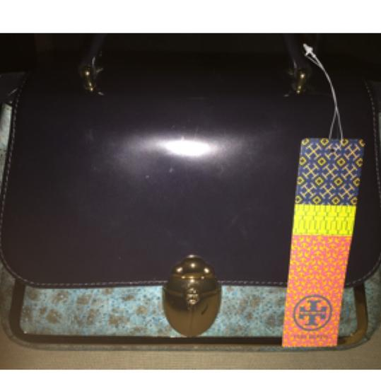 Tory Burch Leather New Crossbody One Shoulder Tote Satchel in Black/Blue Image 2