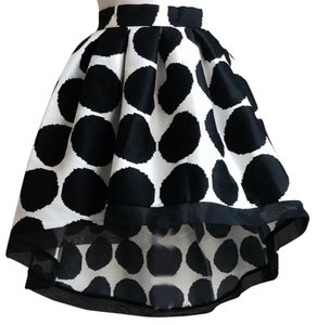 Beulah Hi Low Polka Dots A Line Skirt Black/White
