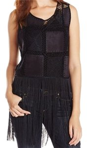 Sam Edelman Faux Suede Patchwork Fringe Hem Sleeveless Top