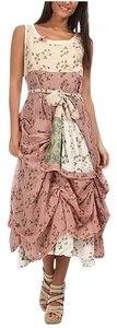 Pink & Beige Maxi Dress by Ian Mosh Floral Sleeveless Patchwork Ruffle Scoop Neck Shabby Chic Cowgirl Girly
