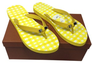 Coach Pink Gingham Nib Nwt New Yellow Sandals