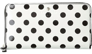 Kate Spade Kate Spade White And Black Polka Dot Patent Leather Continental Zip Wallet NEW