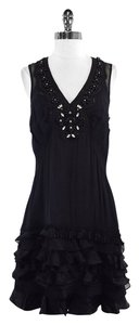 Tracy Reese short dress Black Silk Beaded Ruffly on Tradesy