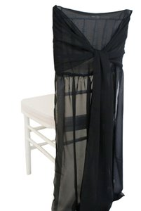 One Black Chiffon Chivari Chair Cover