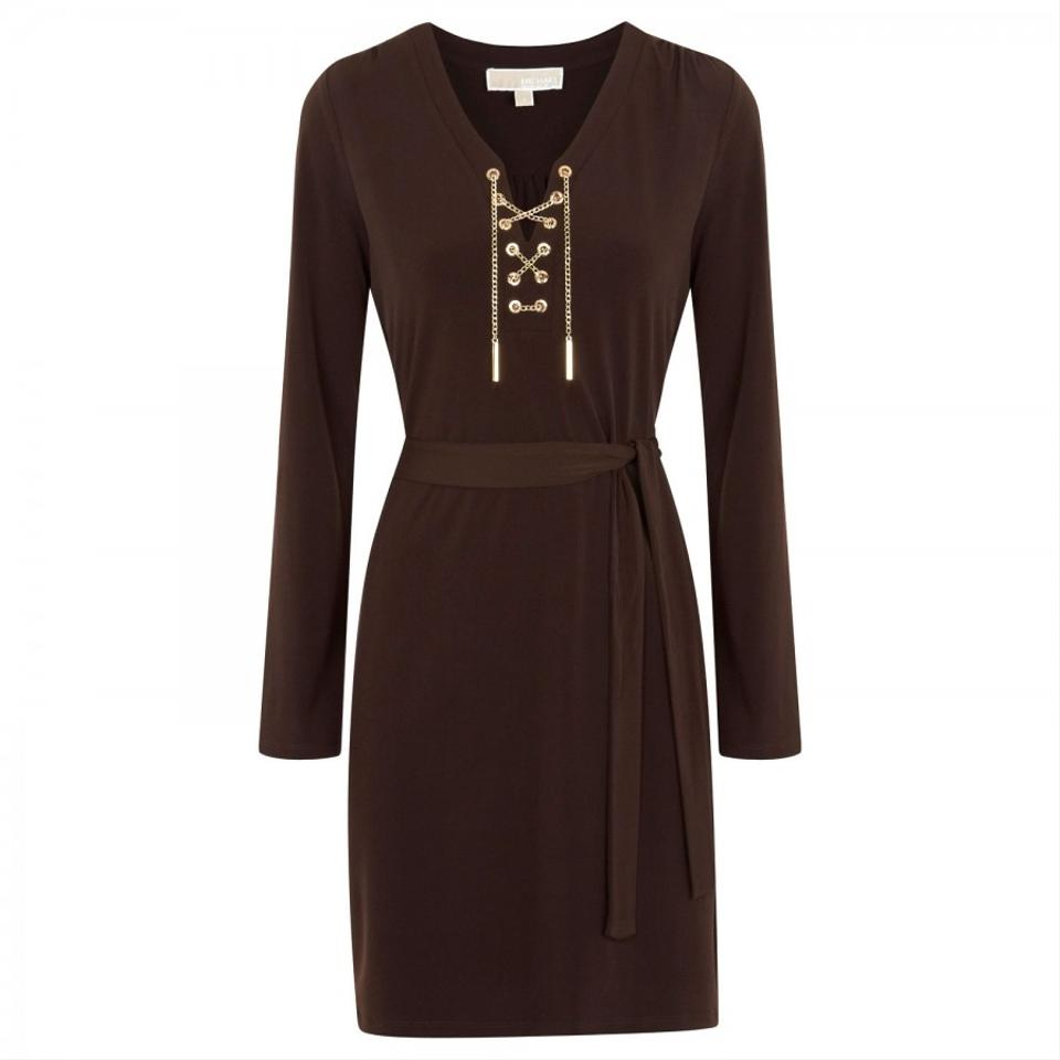 Michael By Michael Kors Night Out Dress Brown Knee Length