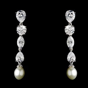 Elegance By Carbonneau Breathtaking Cubic Zirconia And Pearl Bridal Earrings