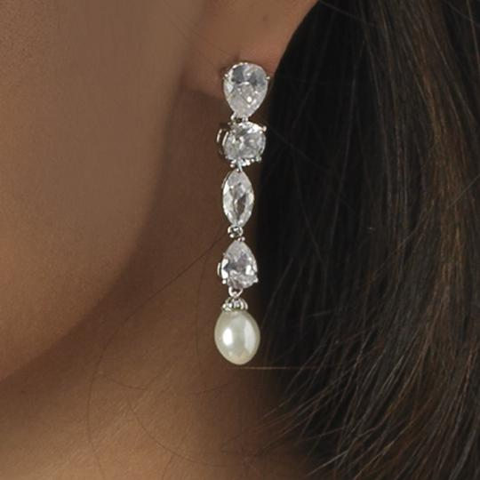 Elegance by Carbonneau Silver Breathtaking Cubic Zirconia and Pearl Earrings
