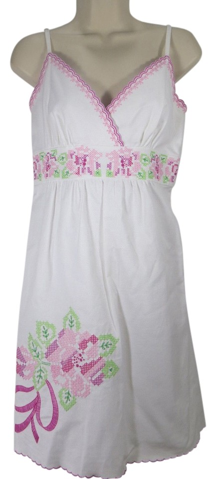 lilly pulitzer short dress white wedding bridal shower embroidered camelia pink derby preppy on tradesy