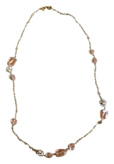 J.Crew Clear amber, crystal balls gold necklace