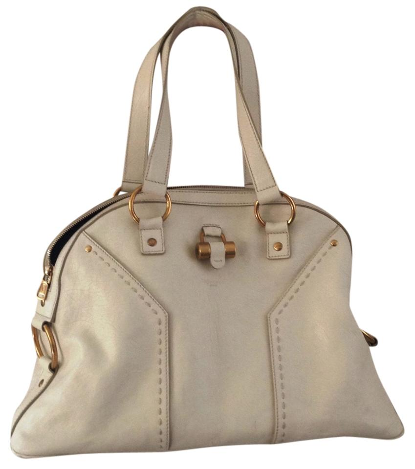 fdead1eb20e Saint Laurent Muse Dome Satchel Large White Ivory Leather Tote - Tradesy