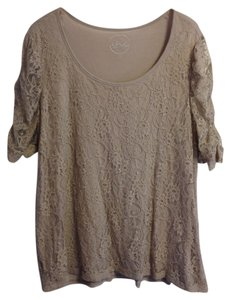 INC International Concepts Plus-size Lace T Shirt Latte