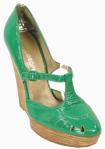 Philosophy di Alberta Ferretti Wed Wood Platinum Patent Leather Green Wedges
