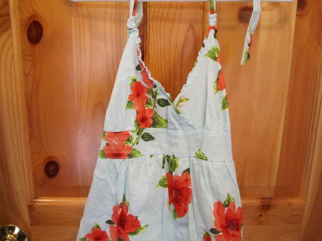 Hollister short dress Multi Large Sun Floral Tropical Print Blue Red Coral Green Halter Lace Ruffle on Tradesy