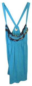 Hollister Racer-back Tshirt Tunic Turquoise Navy Ruffle Long Logo Top Blue