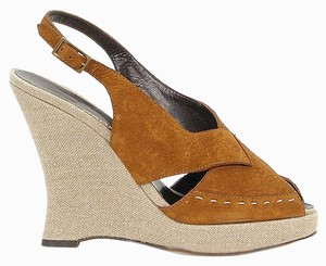 Philosophy di Alberta Ferretti Suede Wedge Platinum Slingback Brown Sandals