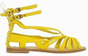 Philosophy di Alberta Ferretti Strappy Festival Suede Yellow Sandals