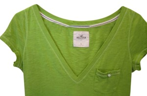 Hollister Pocket Logo Short Cap Sleeve T Shirt Green