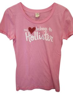 Hollister Short Sleeve Screen Print Logo Large T Shirt Pink