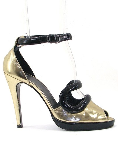 Pierre Cardin Patent Leather Metallic Ankle Strap Black, Gold Pumps