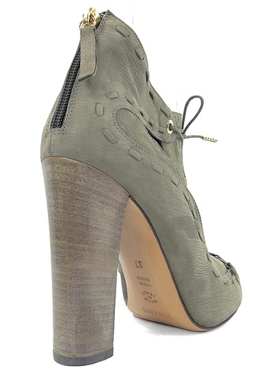 Pollini Cut-out Suede Gray Boots