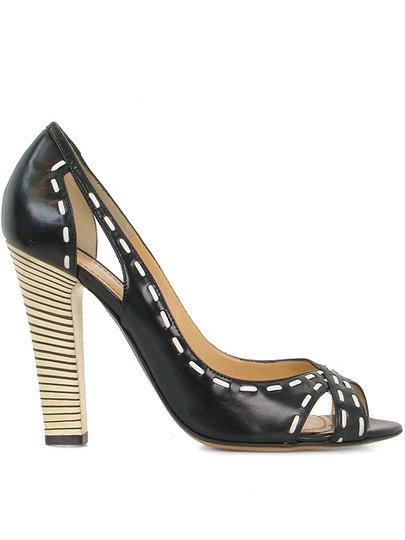 Pollini Open Toe Peep Toe Stitch Cut-out Black Pumps