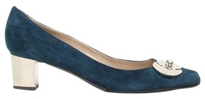 Pollini Silver Metal Hardware Suede Blue Pumps