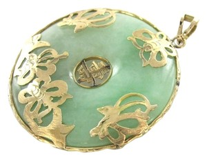 Other 14KT KARAT SOLID YELLOW GOLD PENDANT GREEN JADE KANJI BUTTERFLY LUCK DONUT CHARM
