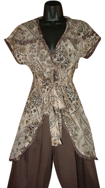 Item - Brown Floral Tie Front Or Back Wrinkled Urban Hippie Chick S Tunic Size 6 (S)
