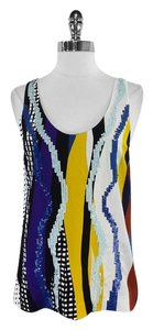Diane von Furstenberg Multi Color Print Sequin Silk Silk Top