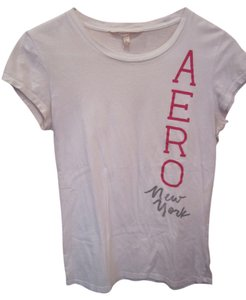 Aéropostale Short Sleeve Logo Pink Grey Aero Large T Shirt White