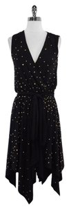 Halston Black Gold Beaded Sleeveless Dress
