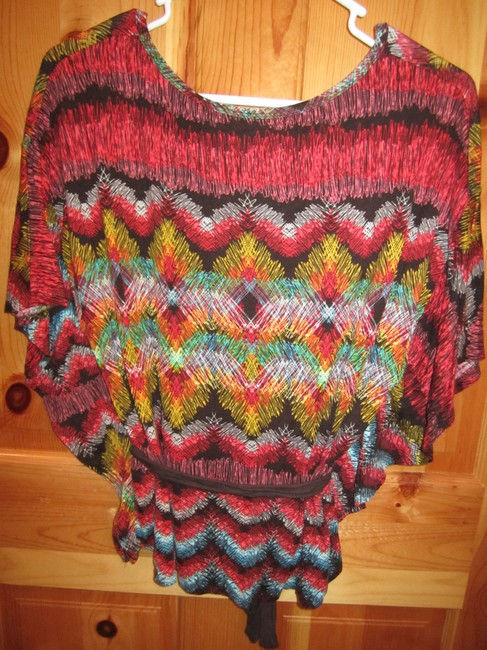 Charlotte Russe Angel Short Sleeve Belted Print T Shirt Brown Green Yellow Coral Blue M L Xl Top Multi