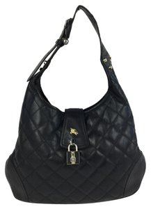 Burberry Brook Leather Handbag Quilted Hobo Bag