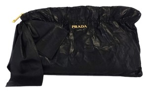 Prada Amtik Black Leather Bow Clutch