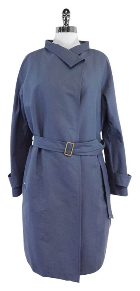 4ad673a6a912c Max Mara Blue Cotton Blend Parka Jacket Size 16 (XL