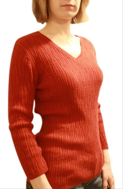 Croft & Barrow Orange 3/4 Length Cable Knitt Casual 100% Cotton Cotton V-neck Sweater