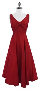 Nicole Miller Red Taffeta Sleeveless Bow Dress