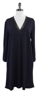 Sportmax Black Navy Silk Shift Dress