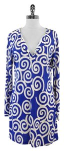 Diane von Furstenberg Blue White Silk Shift Dress