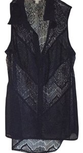 Charming Charlie Sleeveless Lace Button Down Shirt Black