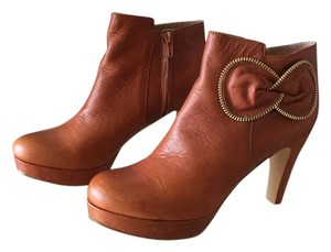See by Chloé Cognac brown w/gold trim now 1 in platform with4 in heel Boots
