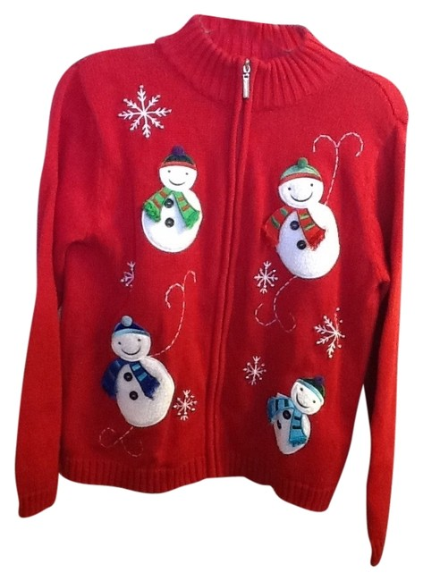 Classic Elements Snowmen Christmas Long Sleeve Warm Winter 3-d Mock Turtleneck Comfortable Silver Bells Snowflakes Casual Cardigan